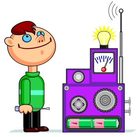 invent: Happy boy with screwdriver watching device with bulb and antenna  Illustration