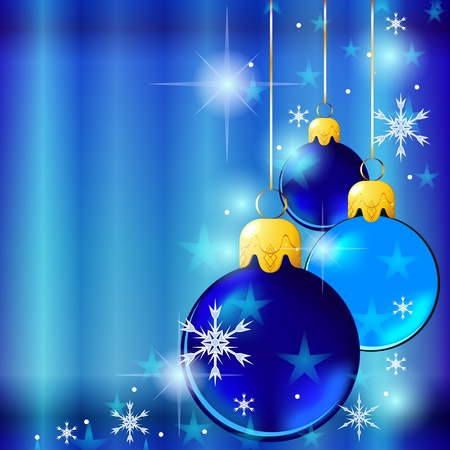 Holiday blue card with shiny Christmas balls and stars Illustration