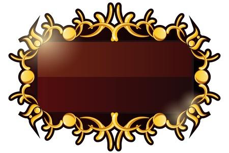 Brown shiny plate with ornate golden vintage frame Illustration