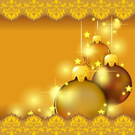 Holiday golden card with shiny Christmas balls and stars Vector