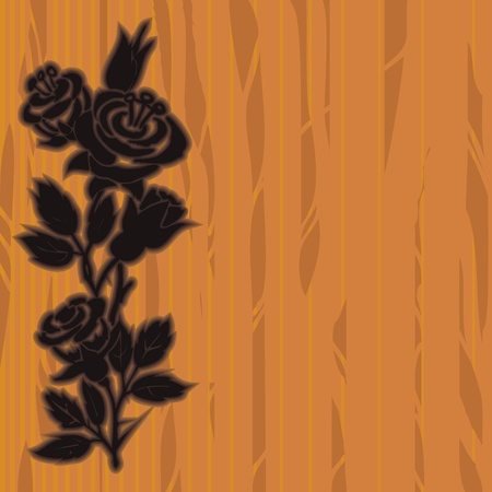 Wooden board with woodcut floral border made of roses Stock Vector - 11651267