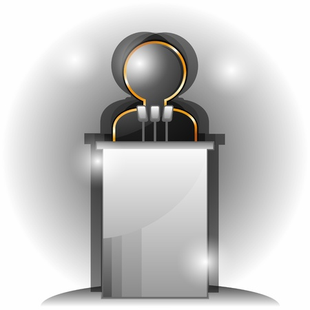 orator: Stylized black man icon and tribune with three microphones  Illustration