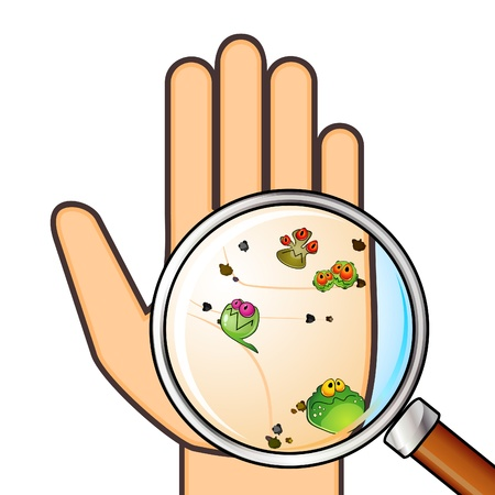 cleanliness: Dirty palm with germs and trash across magnifying glass