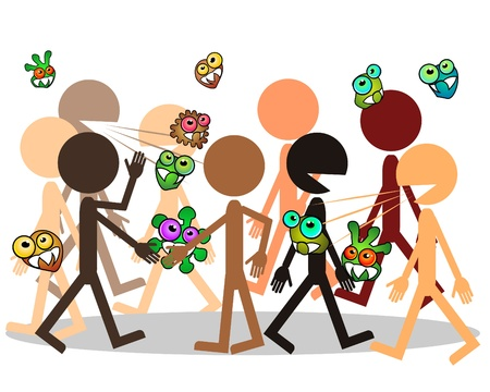 Crowd of people and germs traveling from man to man