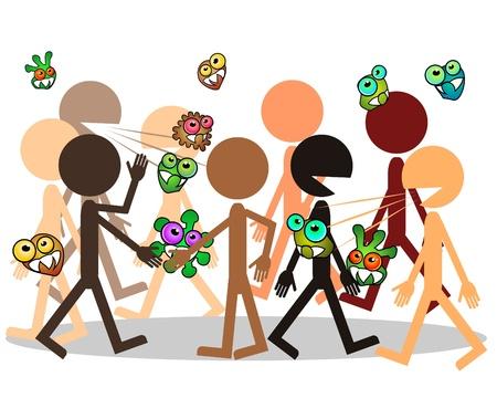 Multitud de personas y los gérmenes que viajan de hombre a hombre