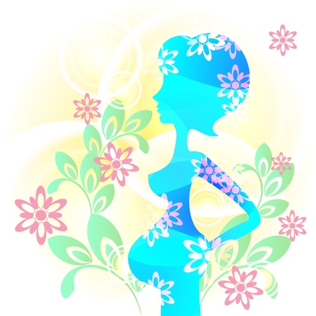 Blue woman�s silhouette and floral design as concept of happy pregnancy Vector