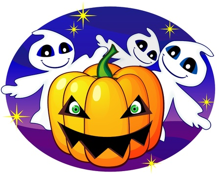 the spectre: Three cute ghosts and smiling pumpkin with green eyes