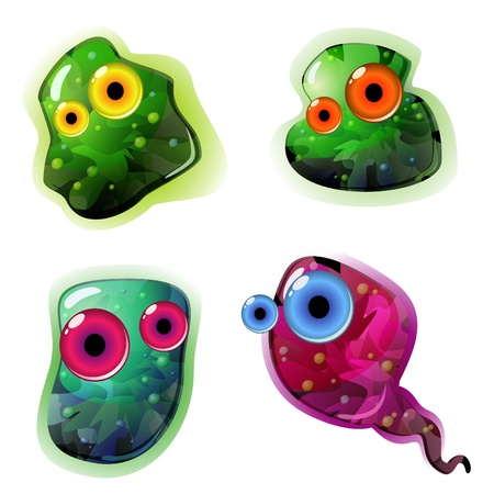 Four glossy germs with eyes isolated over white