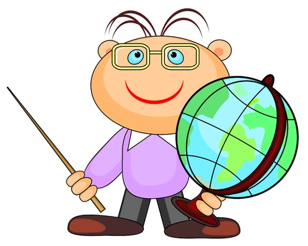 human geography: Young smiling guy with glasses holding globe and pointer