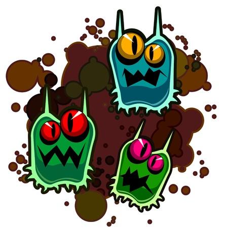Groep van drie monsters of ziektekiemen tegen vuil splash Stock Illustratie
