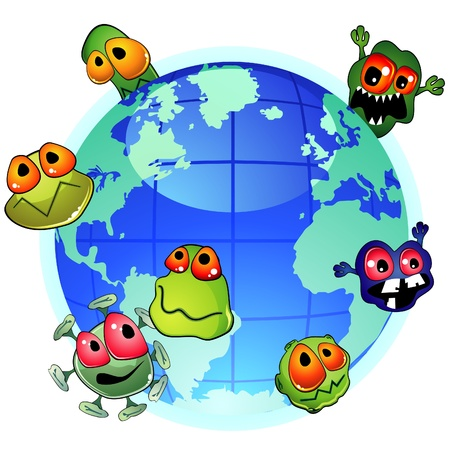 bacteria cartoon: Planet Earth and evil germs around spreading infection Illustration