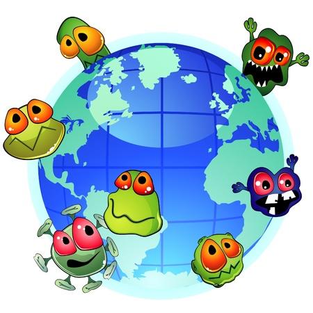 Planet Erde und böse Keime um sich ausbreitende Infektion Vektorgrafik