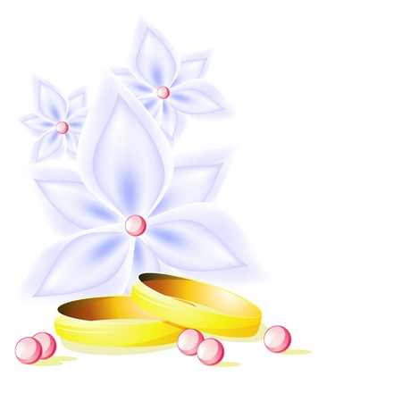 Delicate wedding background with blue flowers and wedding rings Vector