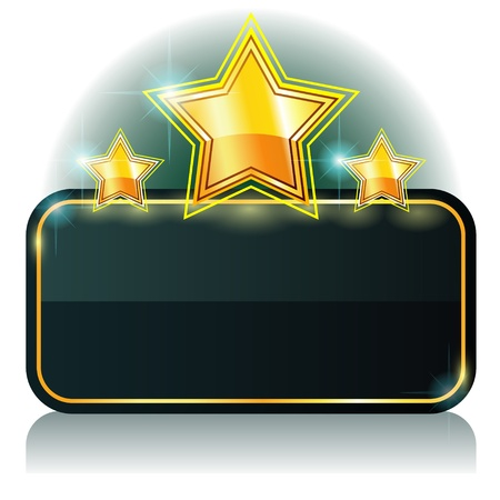 Glossy dark green banner with three gold stars