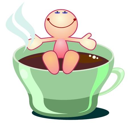 Cartoon man enjoying cup of hot tea or coffee