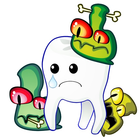 bacteria cartoon: Poor sad tooth is attacked by germs of caries Illustration