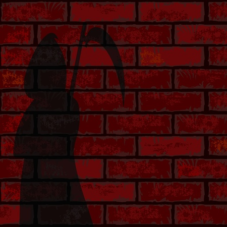 Silhouette of black grim reaper on brick wall with copy space Vector