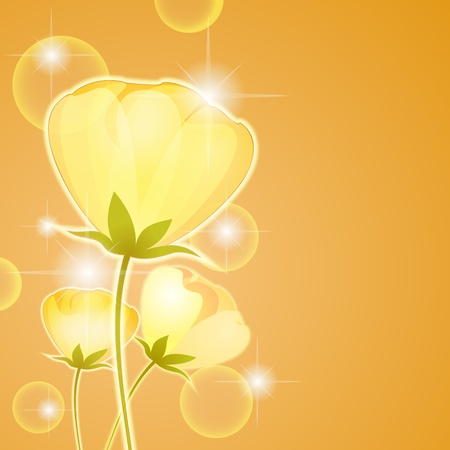 Three yellow flowers over gold background with copy space Vector