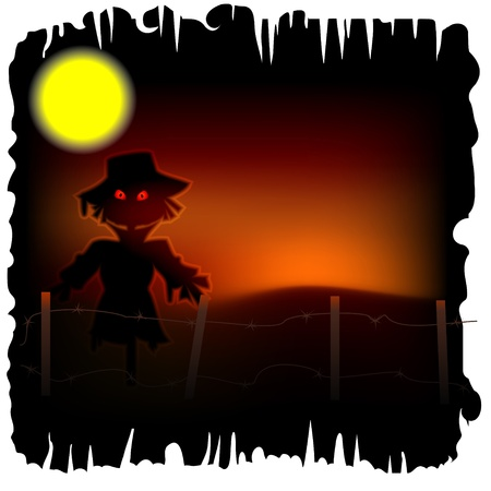 macabre: Halloween background with scarecrow with red eyes