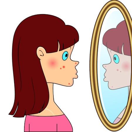 wysypka: Smutna dziewczyna nastolatek patrzÄ…c na lustro i widzÄ…c trÄ…dzik