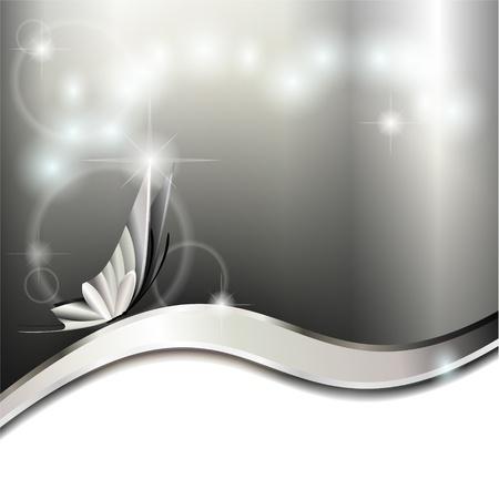 silver circle: Sfondo grigio metallizzato con onda e la farfalla Vettoriali