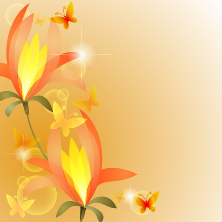 Floral background with orange exotic flower and golden butterflies Vector