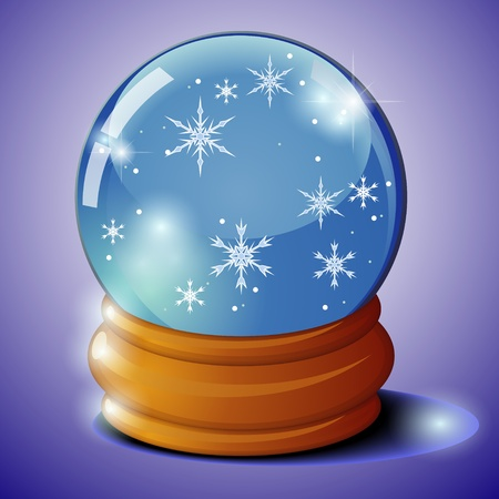 Transparent glass ball on stand with snowflakes over dark background Vector