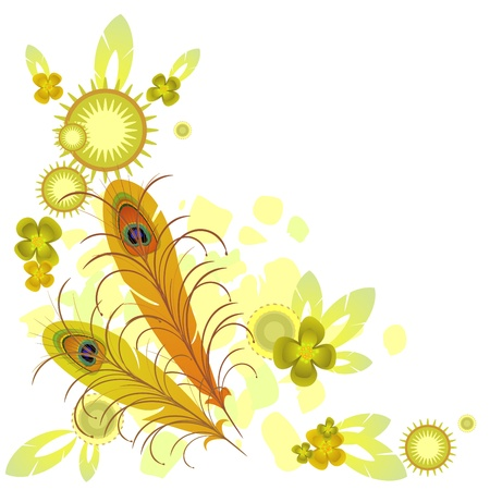 Yellow background with abstract elements and feathers of peacock Vector