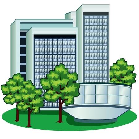 Groupe de bâtiments à haute modernes sur la pelouse verte avec des arbres