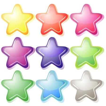 estrellas moradas: Conjunto de nueve estrellas de colores suaves de gelatina con sombras