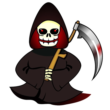 Grim Reaper: Grim reaper of souls with scythe isolated over white