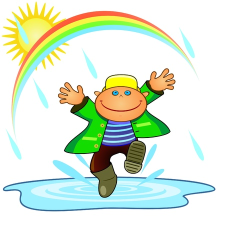 Happy smiling boy jumping across pool under rain Vector