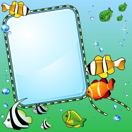 bunter fisch: Licht Glas Hintergrund, helle bunte Fische und Blasen Illustration