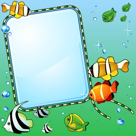 Light glass background, bright colorful fish and bubbles  Illustration