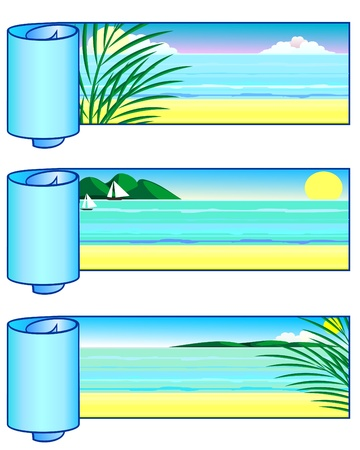 tropical beach panoramic: Set of horizontal coiled banners with marine landscape Illustration