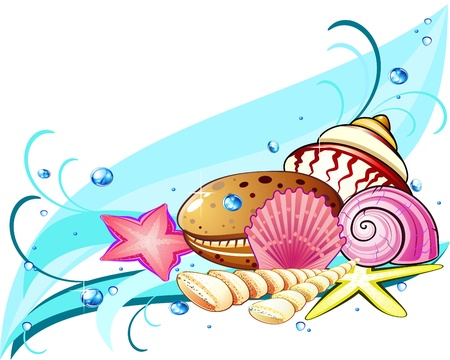 Sea wave, bubbles and composition of starfish and shells Illustration