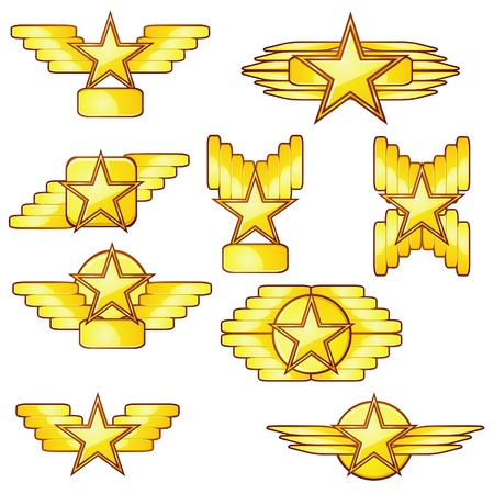 Set of golden badges with stars and wings Stock Vector - 11651360