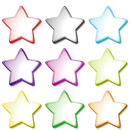lustrous: Set of nine colorful transparent stars isolated over white