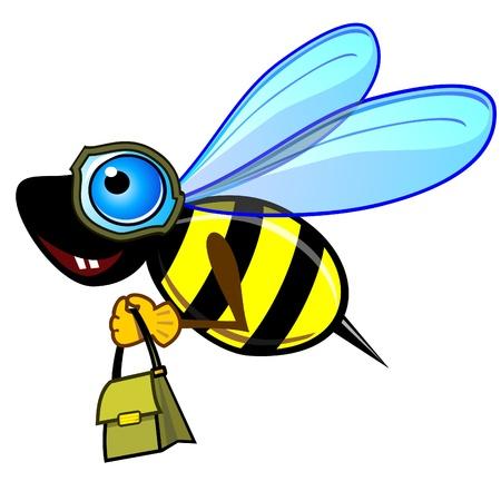 avispa: Abeja o una avispa volando con una bolsa aislado más de blanco Vectores