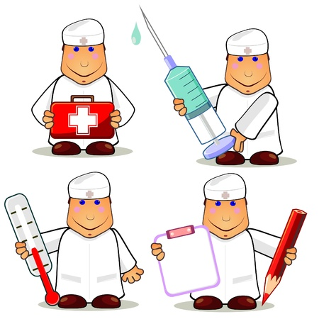 sick malady: Set of smiling cartoon doctors with different medical things Illustration