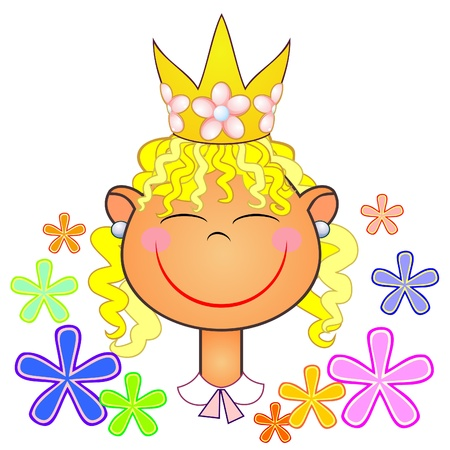 Happy little girl with flowers and crown on head