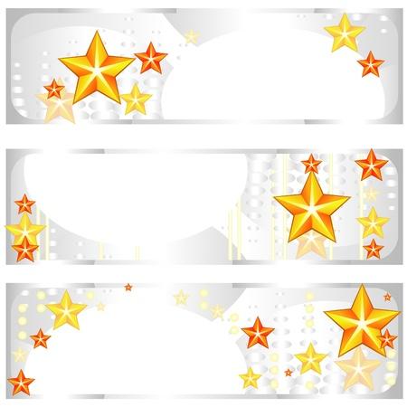 metallic banners: Set of grey metallic banners with red stars