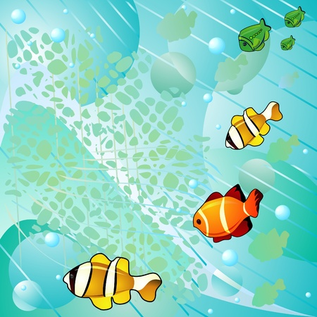 Abstract marine background with bubbles and fish Vector