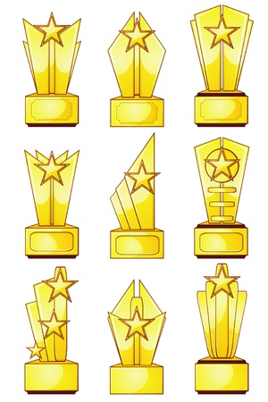 Set of nine gold trophies with stars and blank plaques Stock Vector - 11651350