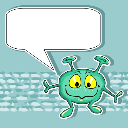 Green card with funny little alien and blank speech bubble Stock Vector - 11651338