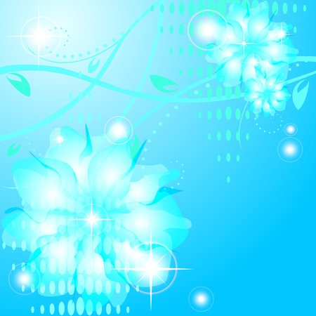 Blue floral greeting card with shining abstract flowers Vector