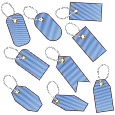 ball and chain: Nine blank blue stitched denim tags with chain made of balls