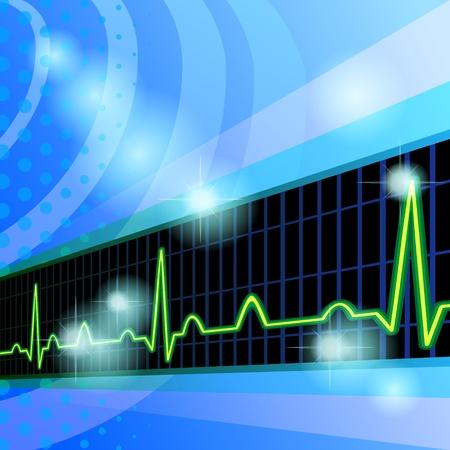 Fondo azul con cinta médica negro de electrocardiograma