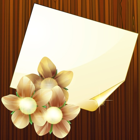 Wooden texture and blank page with flowers Vector
