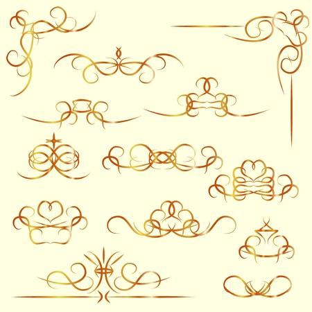 gild: Set di isolati elementi vintage calligrafici, bordi e angoli